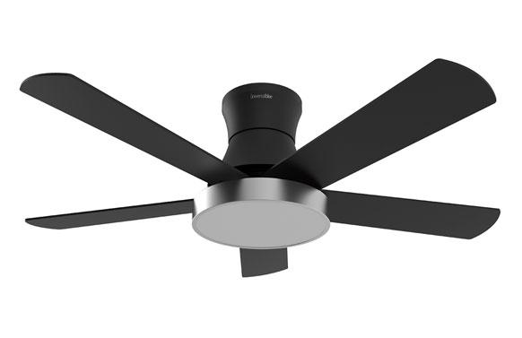 Ventilador techo shamal 4048 55w 122 cm negro luz led