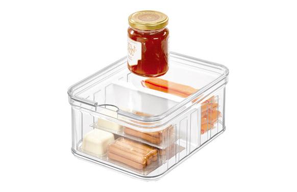 Organizador nevera cubeta rectangular con tapa y d 21 x 16 x 10 cm