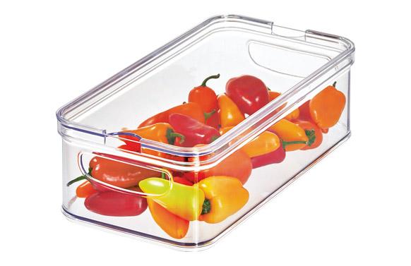 Organizador nevera cubeta rectangular con tapa des 33 x 16 x 10 cm