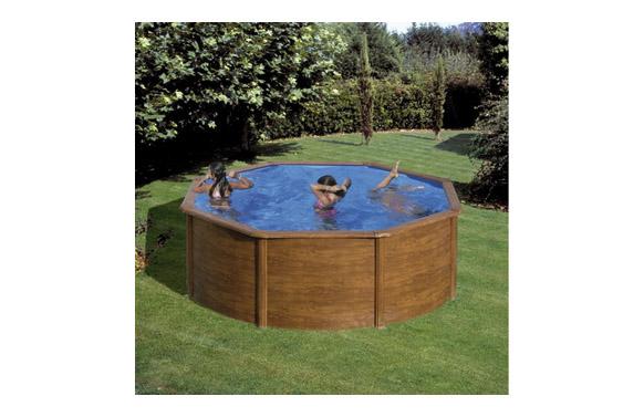 Piscina acero redonda filtro arena ø 300x120 cm madera