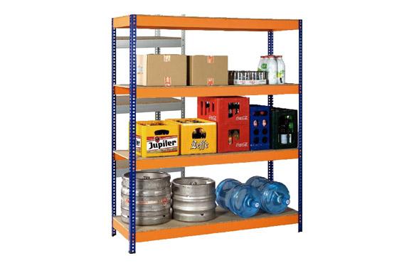 Estanteria metalica azul / naranja, 4 estantes 190 x 150 x 60 cm