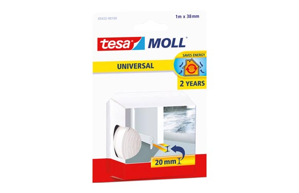 Burlete bajo puerta caucho adhesivo tesa umbral 1m x 38 mm blanco tesamoll